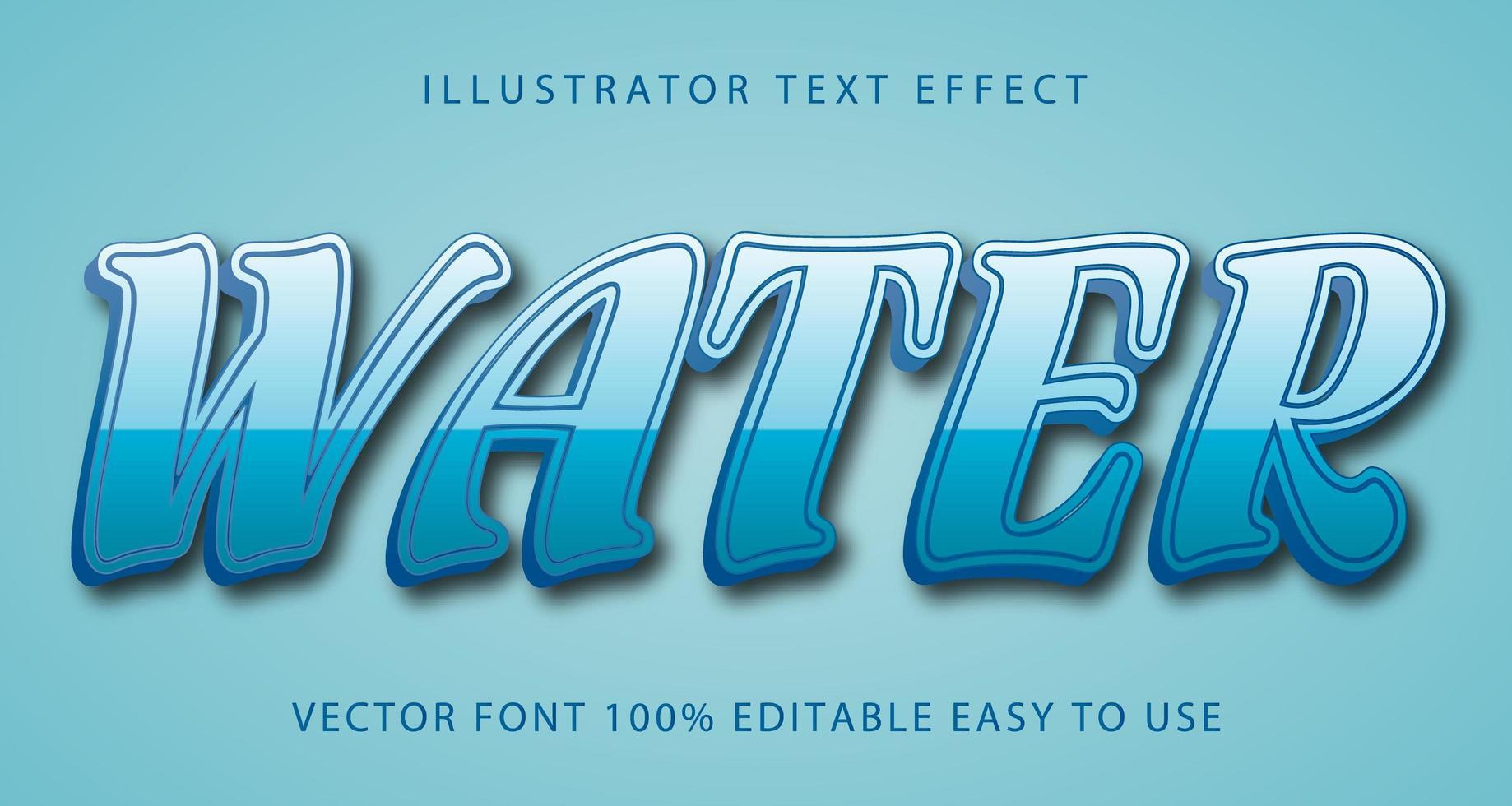 vatten ljusblå text effekt vektor