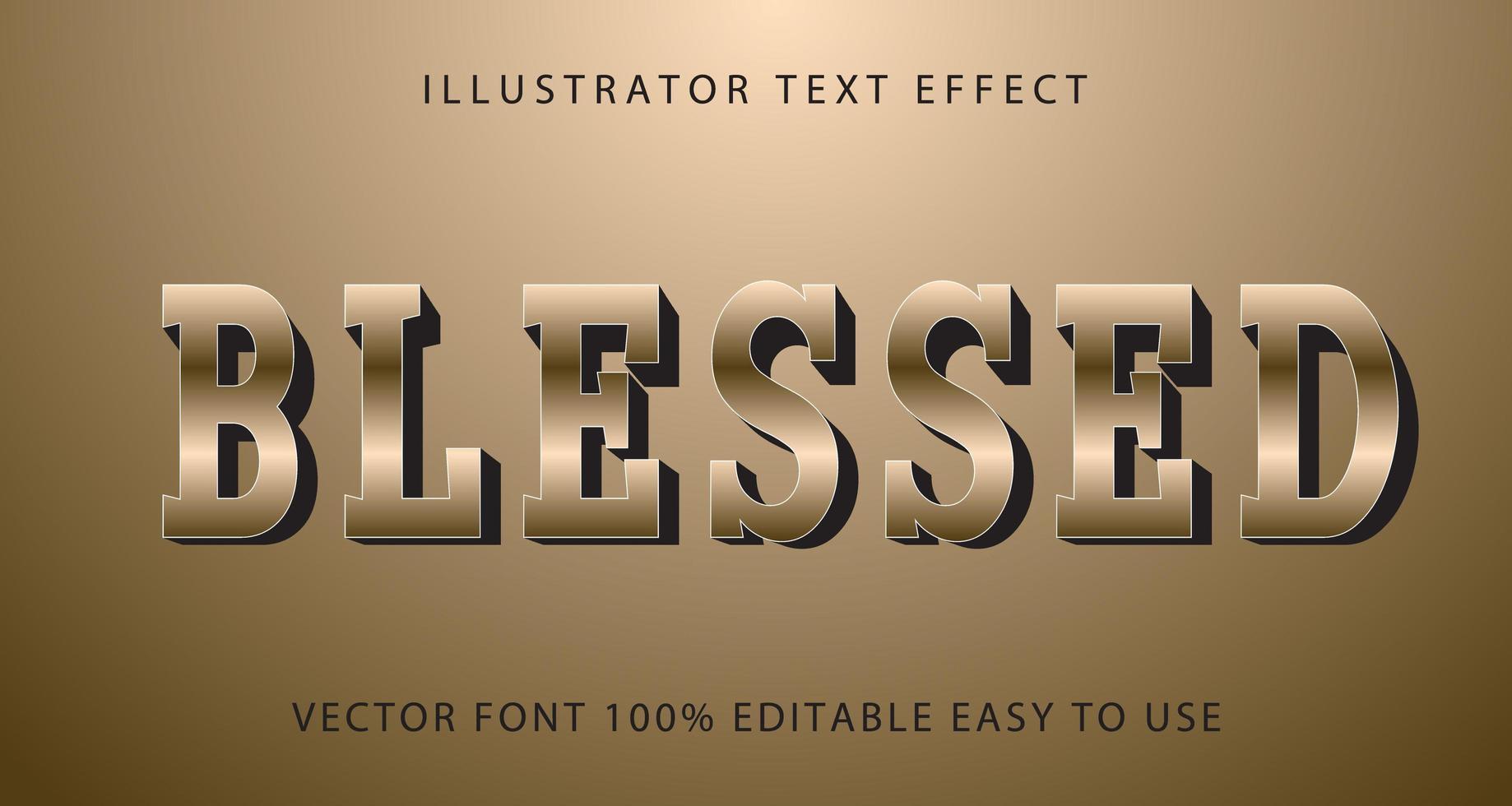 välsignad solbrun metallisk texteffekt vektor