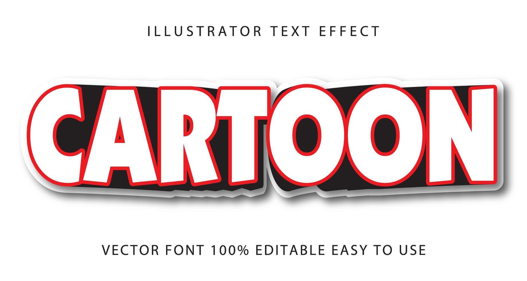 röd, vit tecknad texteffekt vektor
