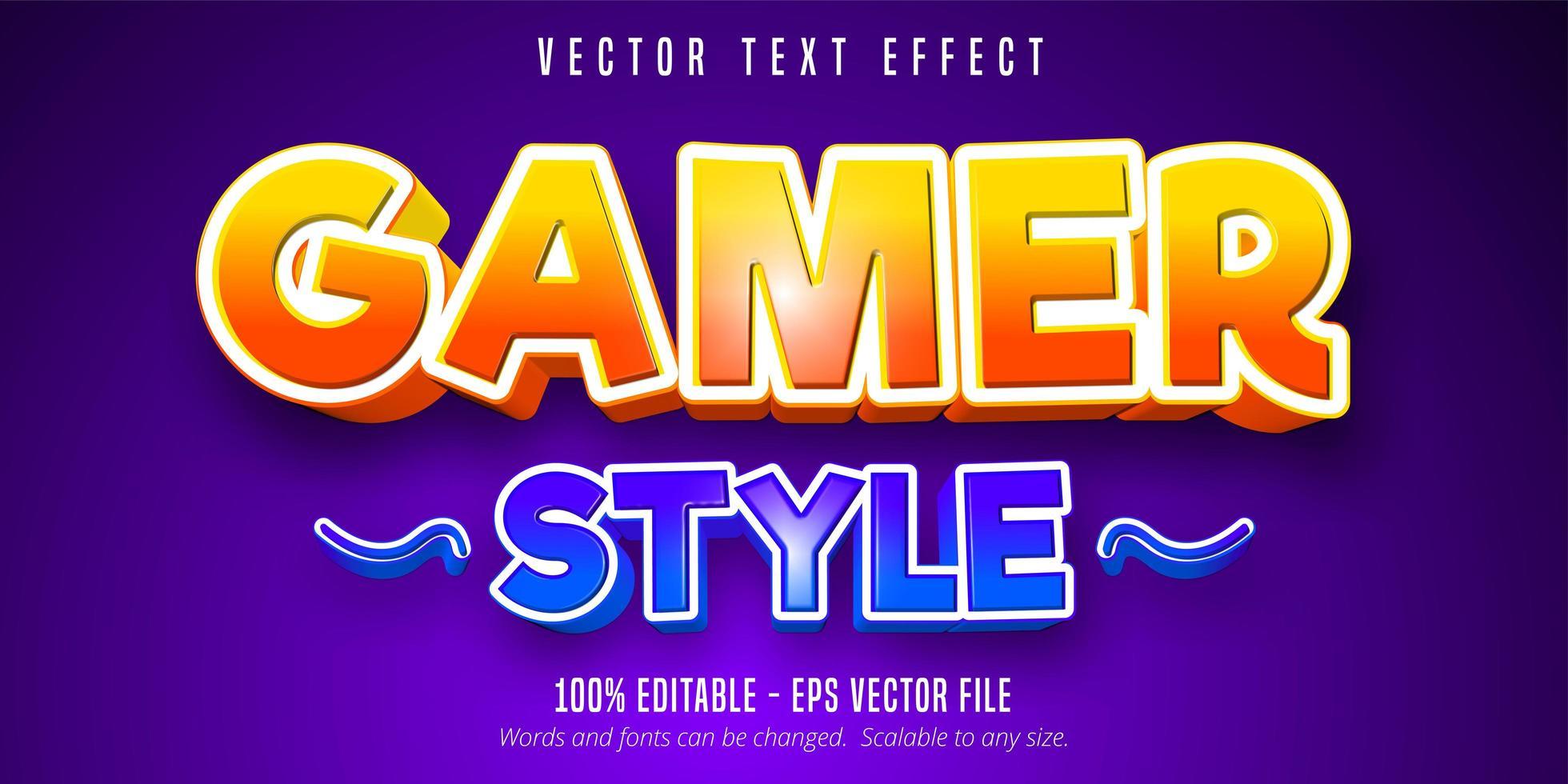 Gamer stil redigerbar texteffekt vektor