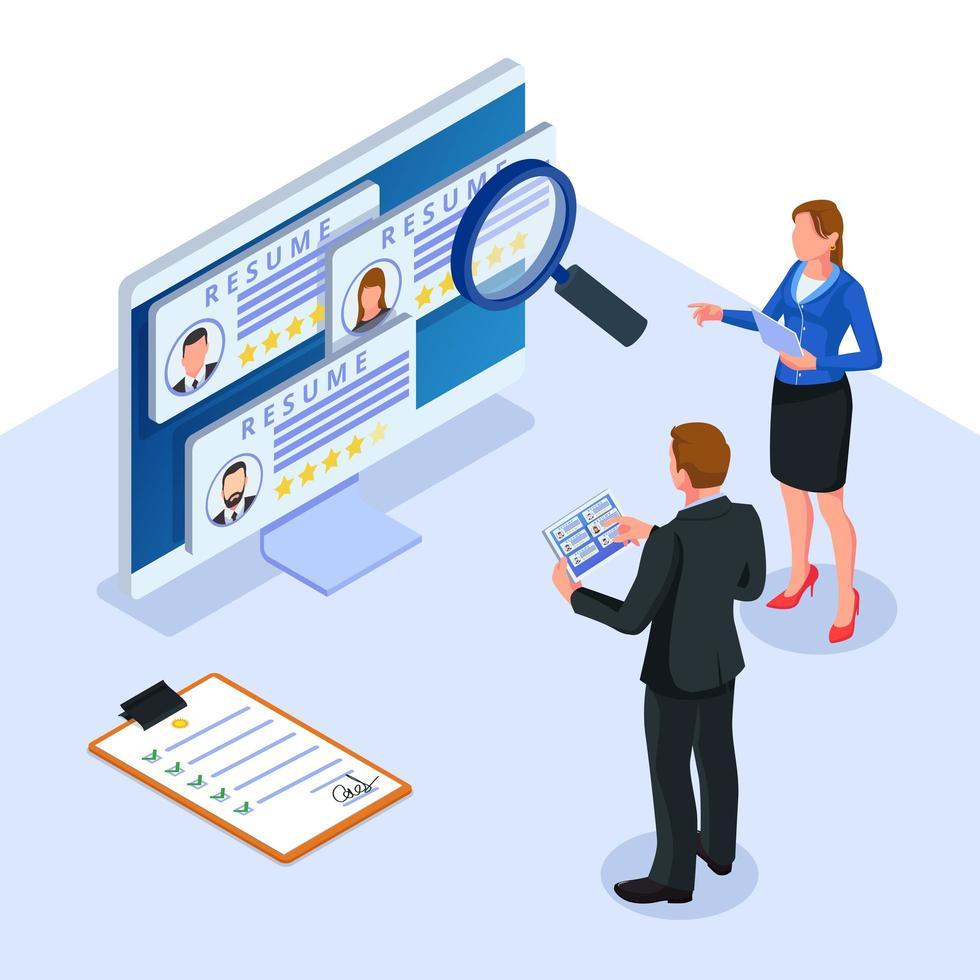 Personalabteilung prüft den Online-Lebenslauf des Bewerbers vektor