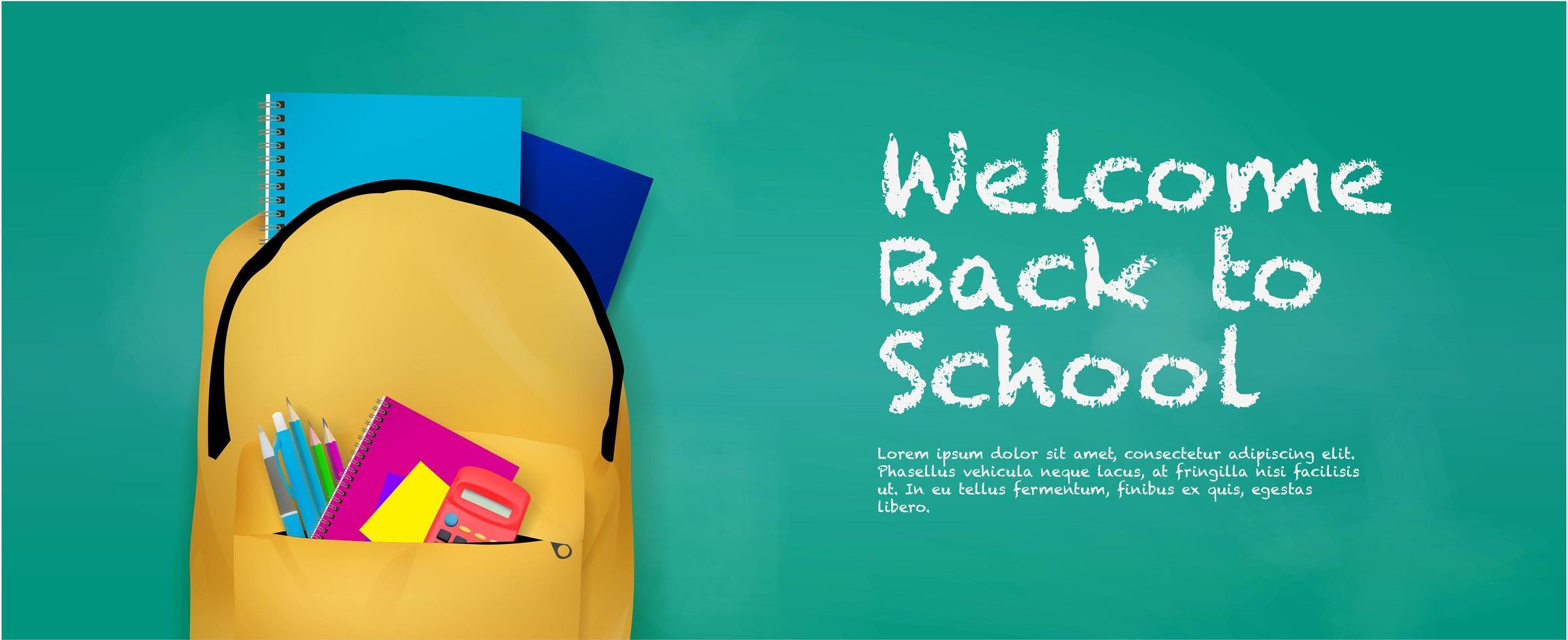 tillbaka till skolbannern med ryggsäck och förnödenheter vektor