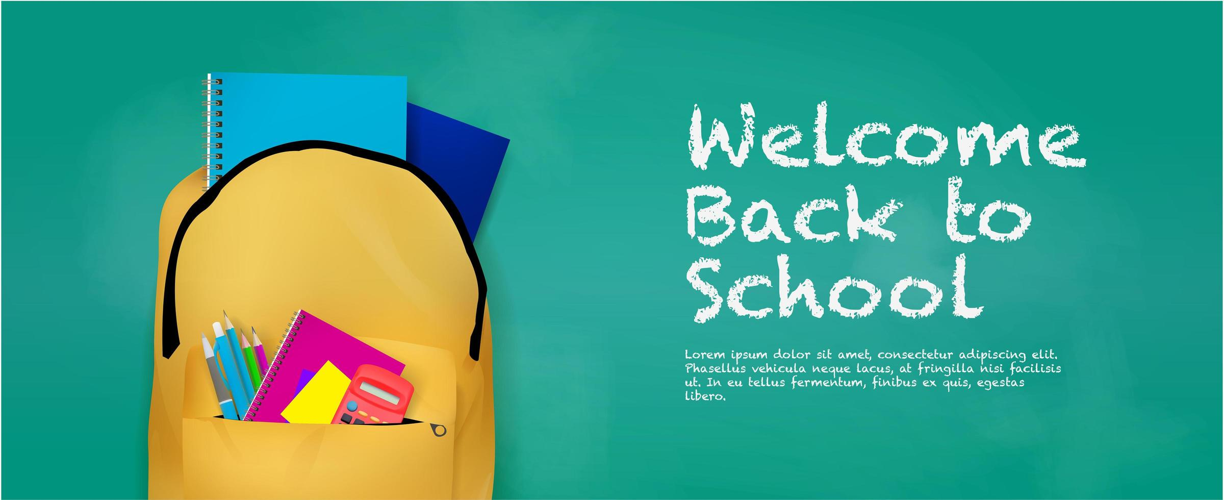 Zurück zum Schulbanner mit Rucksack und Zubehör vektor