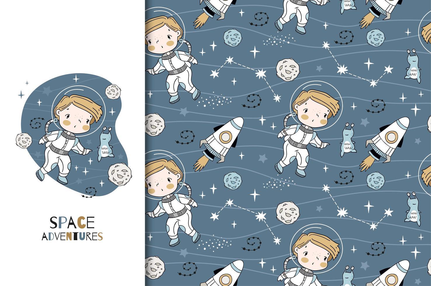 handgezeichneter kleiner Kosmonaut und nahtloses Muster vektor