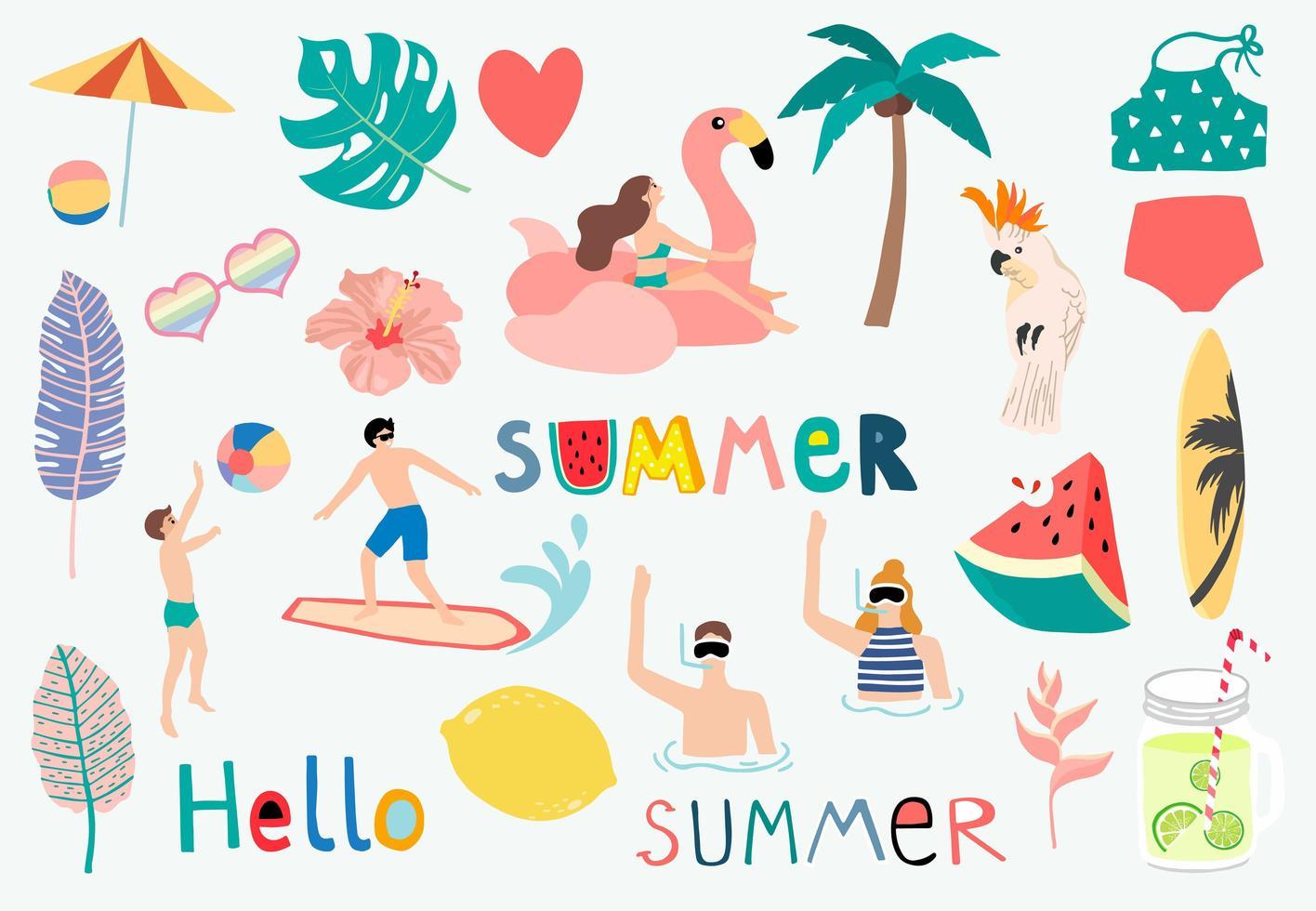 sommarföremål inklusive vattenmelon, citron, flottör och surfbräda vektor