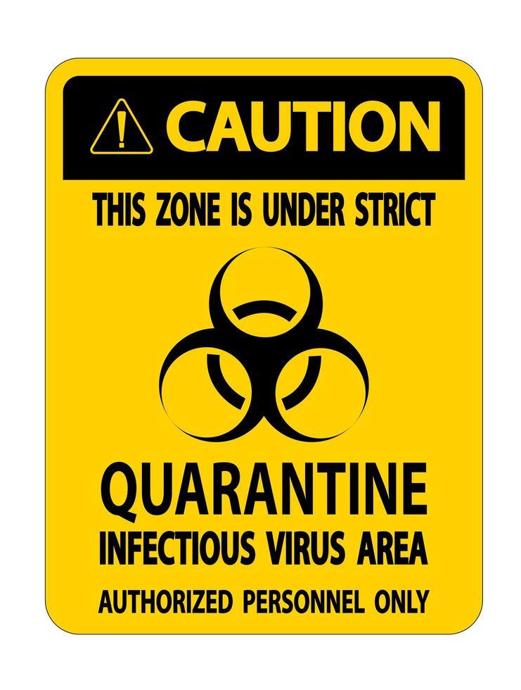 Vorsicht Quarantäne infektiösen Virus Bereich Zeichen vektor