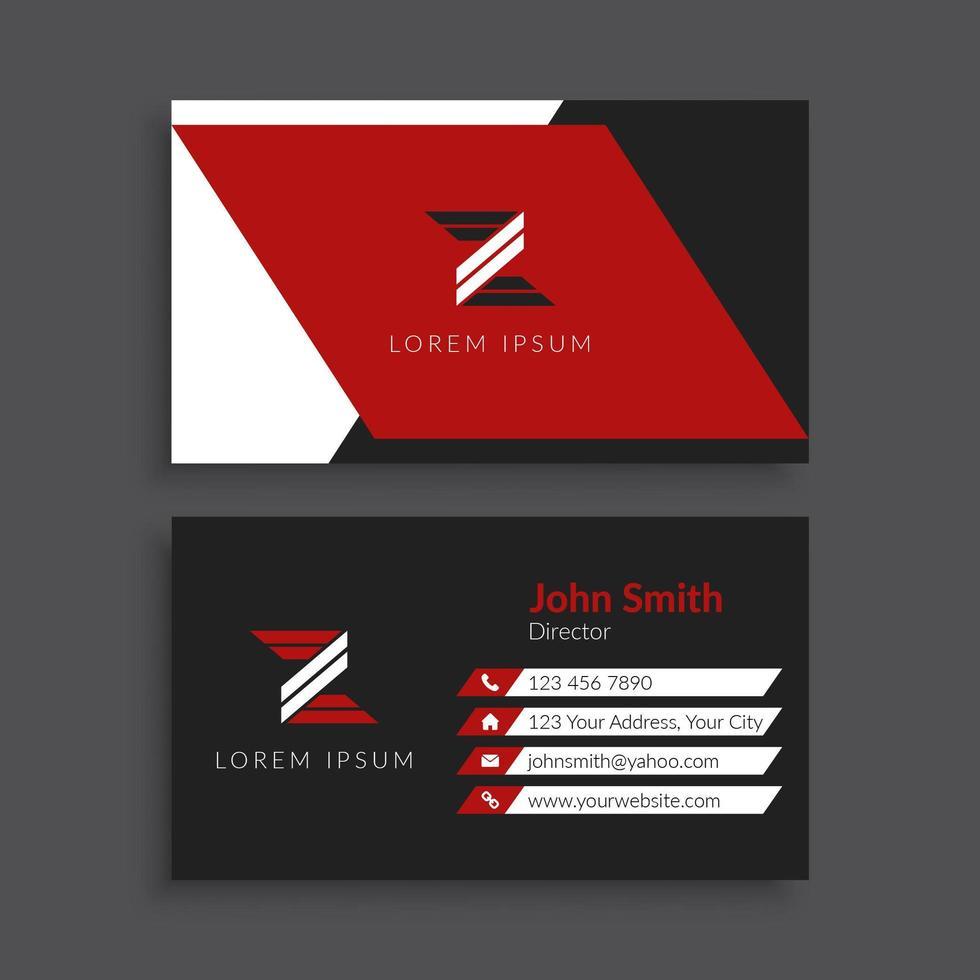 kreative rote Winkel Design Visitenkartenvorlage vektor