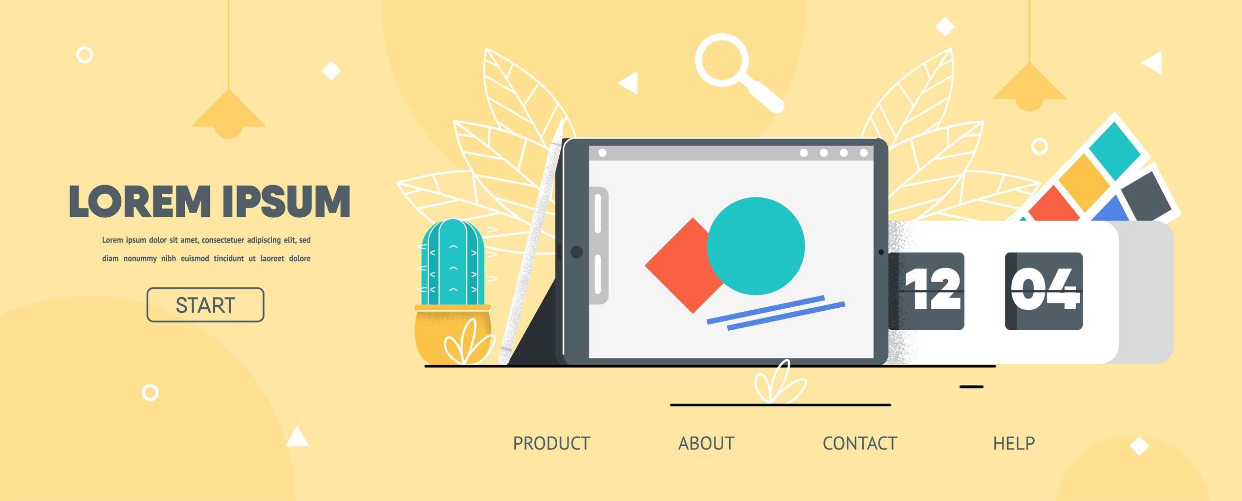 målsida platt layout för grafisk designer app vektor