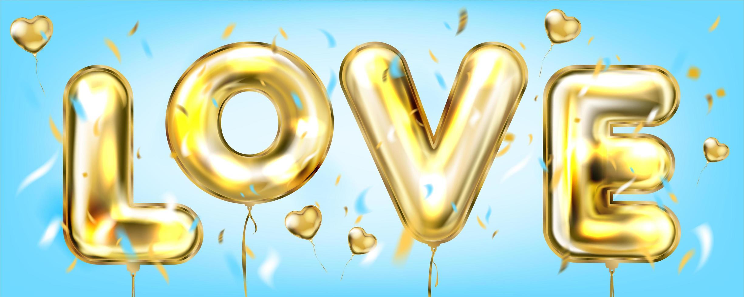 kärlek i ett himmelblått banner vektor