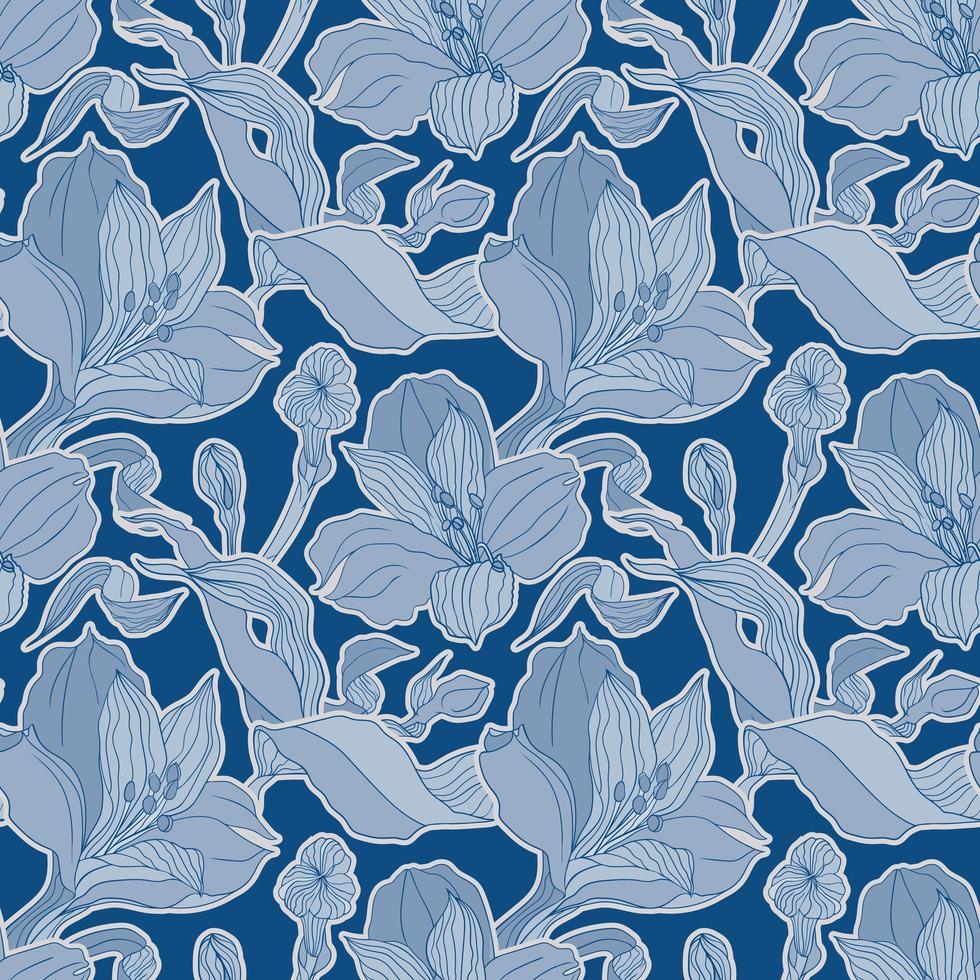 dunkelblaues nahtloses Muster mit Alstroemeria Knospen und Blüten vektor