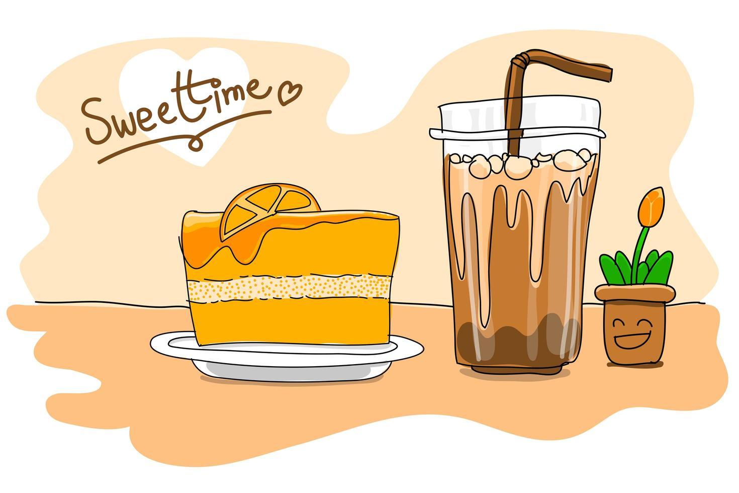 Orangenkuchen mit Eiskaffeetasse zeichnen vektor