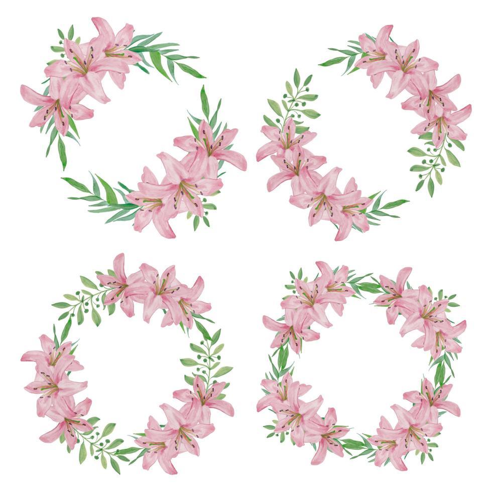 Aquarell rosa Lilie Blumenkranz gesetzt vektor