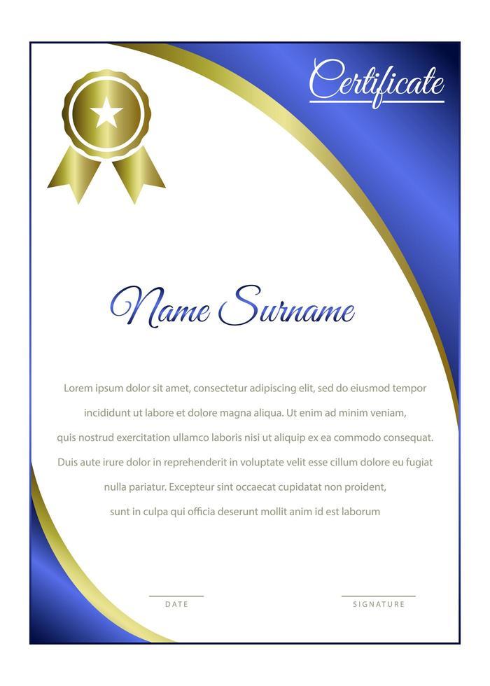 elegante vertikale Vorlage des blauen und goldenen Zertifikats vektor