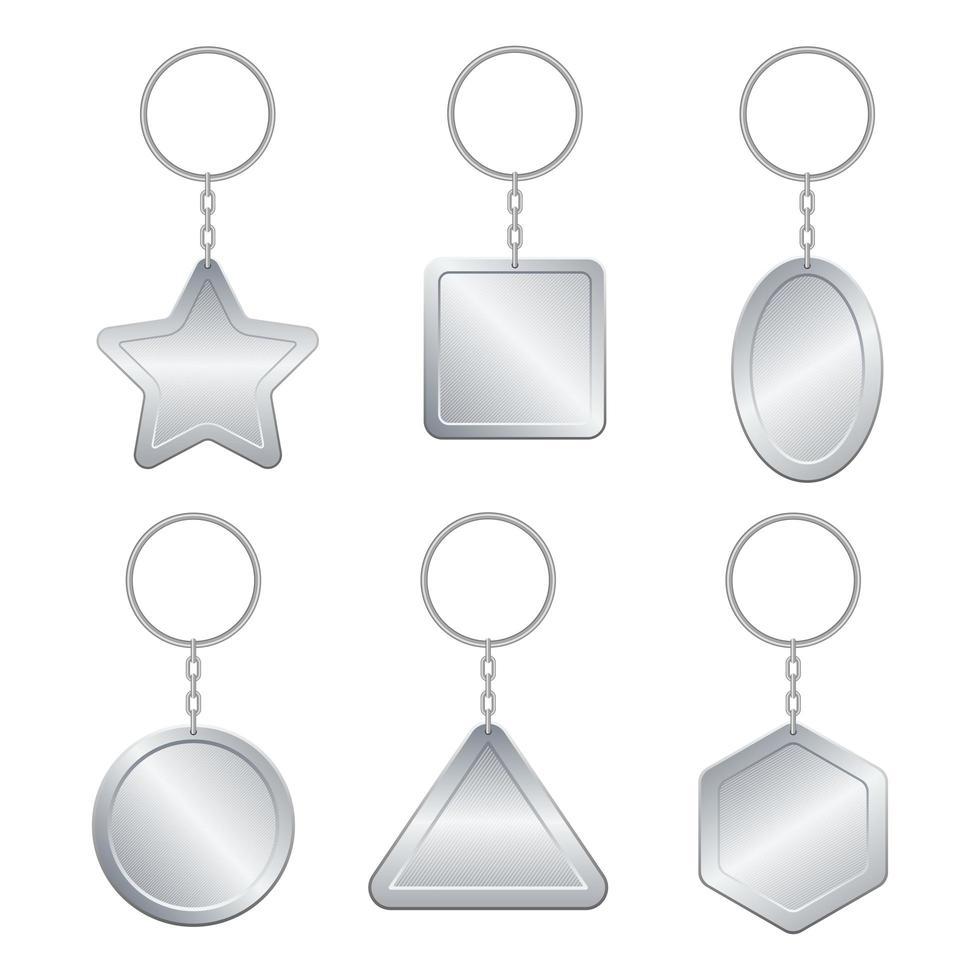 metallischer Schlüsselbundsatz lokalisiert auf weißem Hintergrund vektor