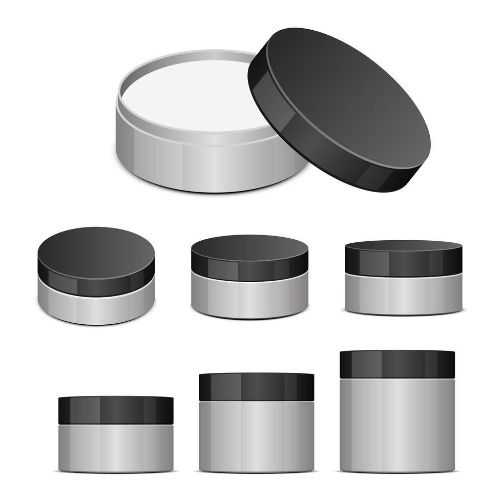 Plastikglas für Kosmetika lokalisiert auf weißem Hintergrund vektor