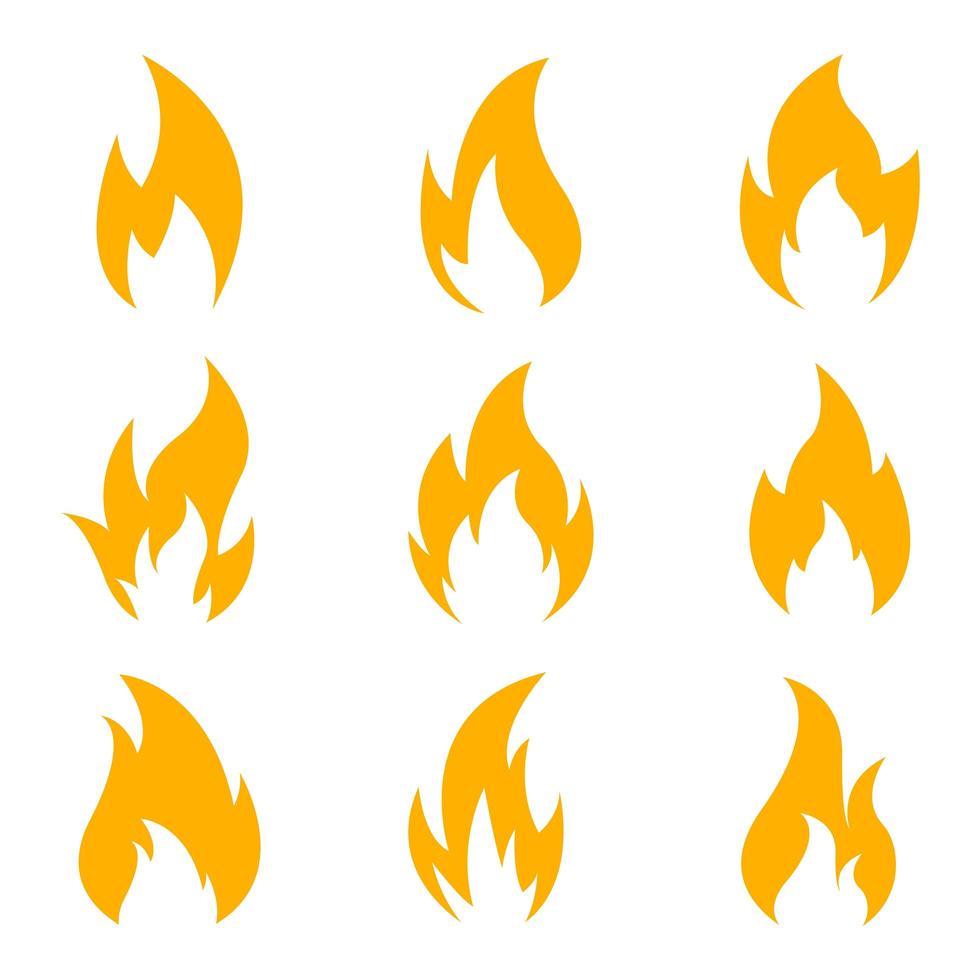 Feuersymbolsatz lokalisiert auf weißem Hintergrund vektor