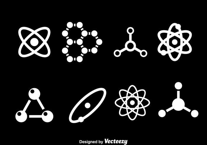 Atomweiß-Icons vektor