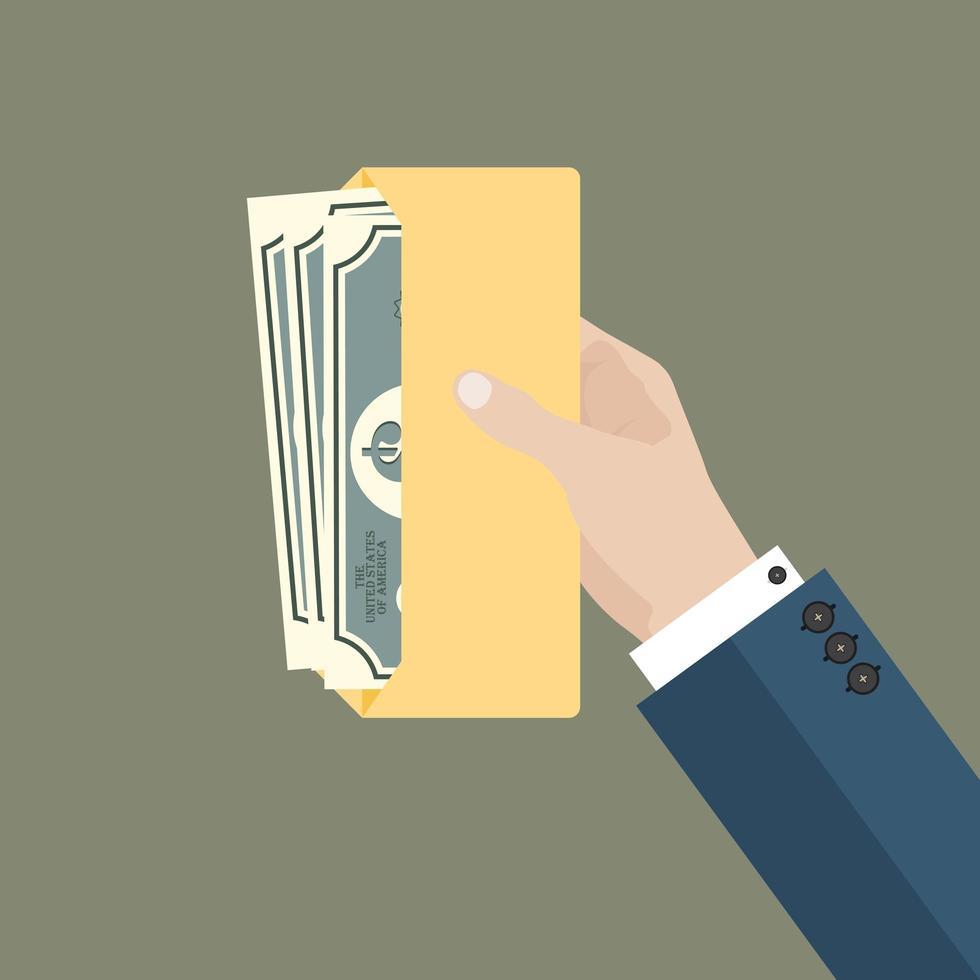 affärsman hand hålla kuvert med pengar vektor