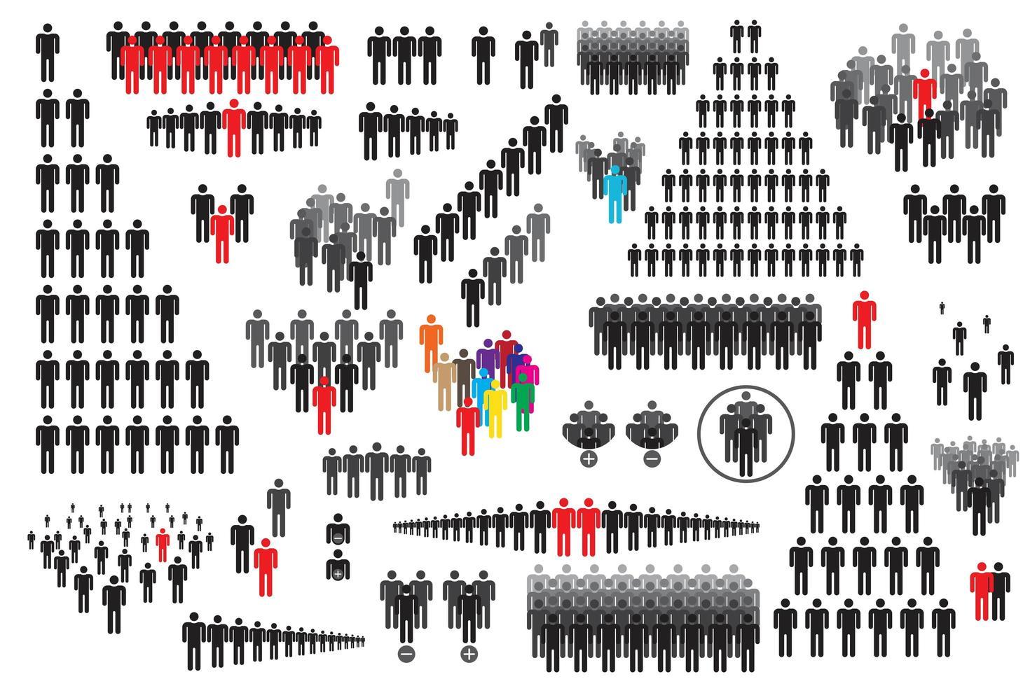 människor Ikonuppsättning vektor