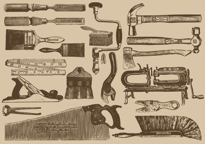 Vintage snickare verktyg vektor