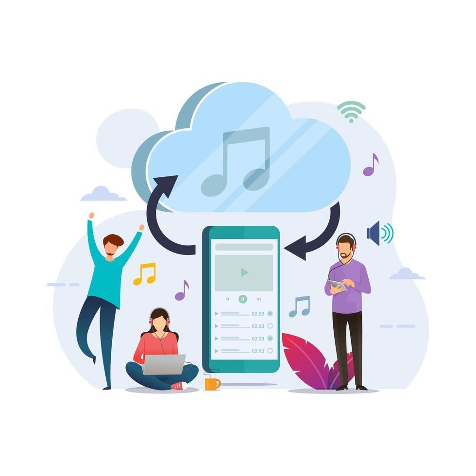 smartphone streaming musik med molnlagring vektor