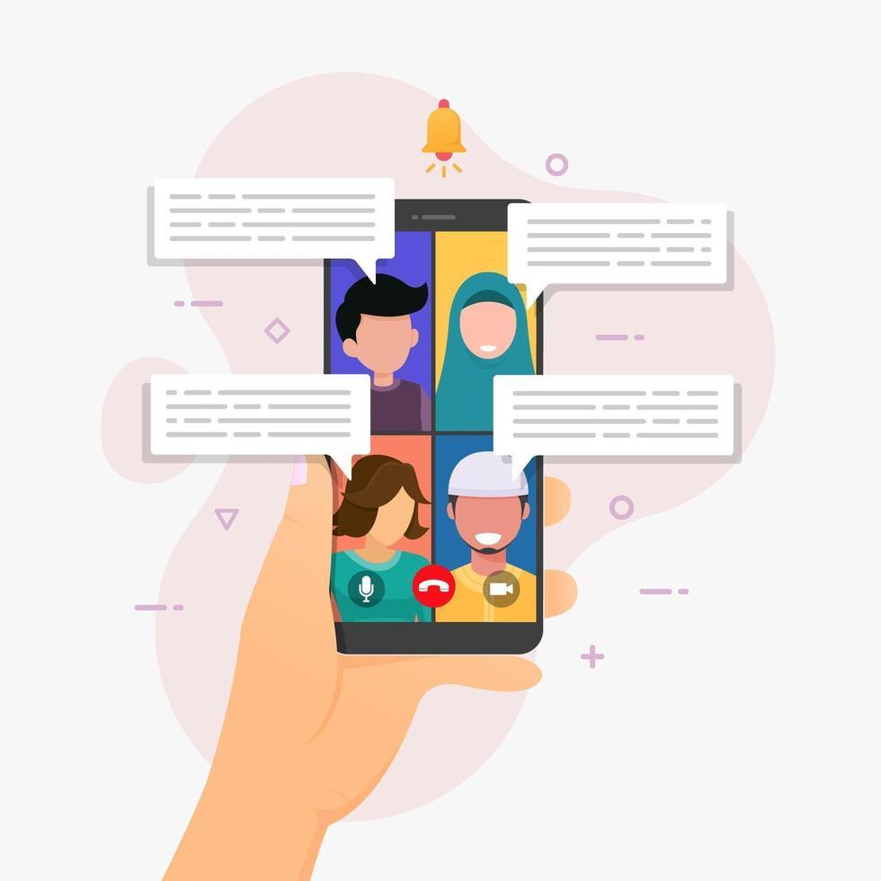 grupp videosamtal applikation på smartphone vektor