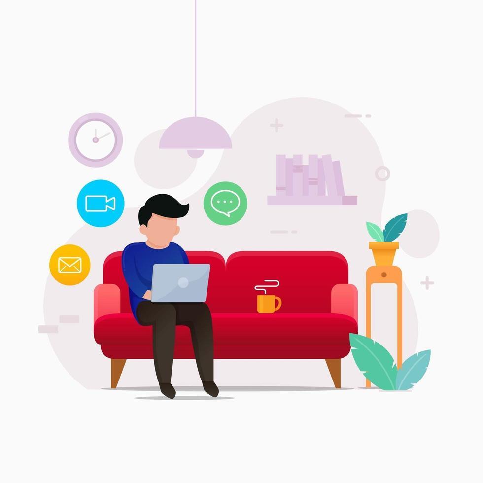 man med bärbar dator som arbetar på soffan hemma vektor