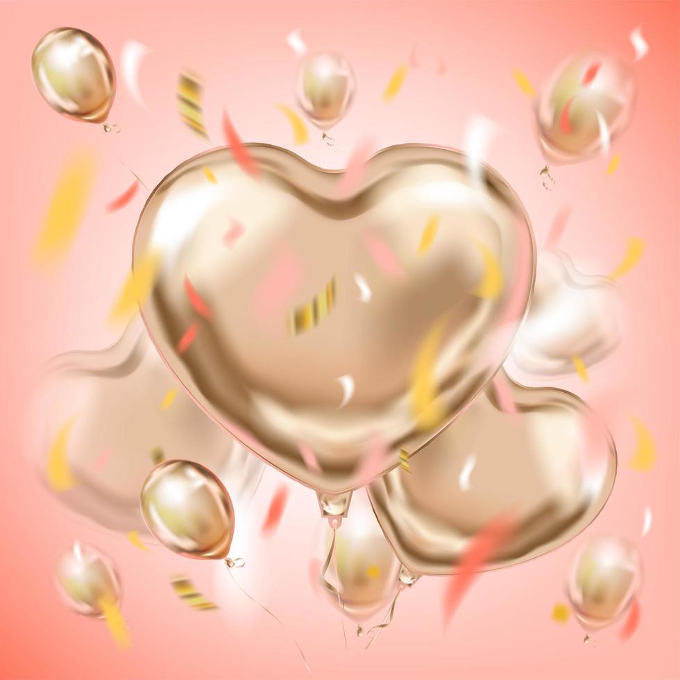 rosa bild med ballonger i hjärtaform av metallfolie vektor