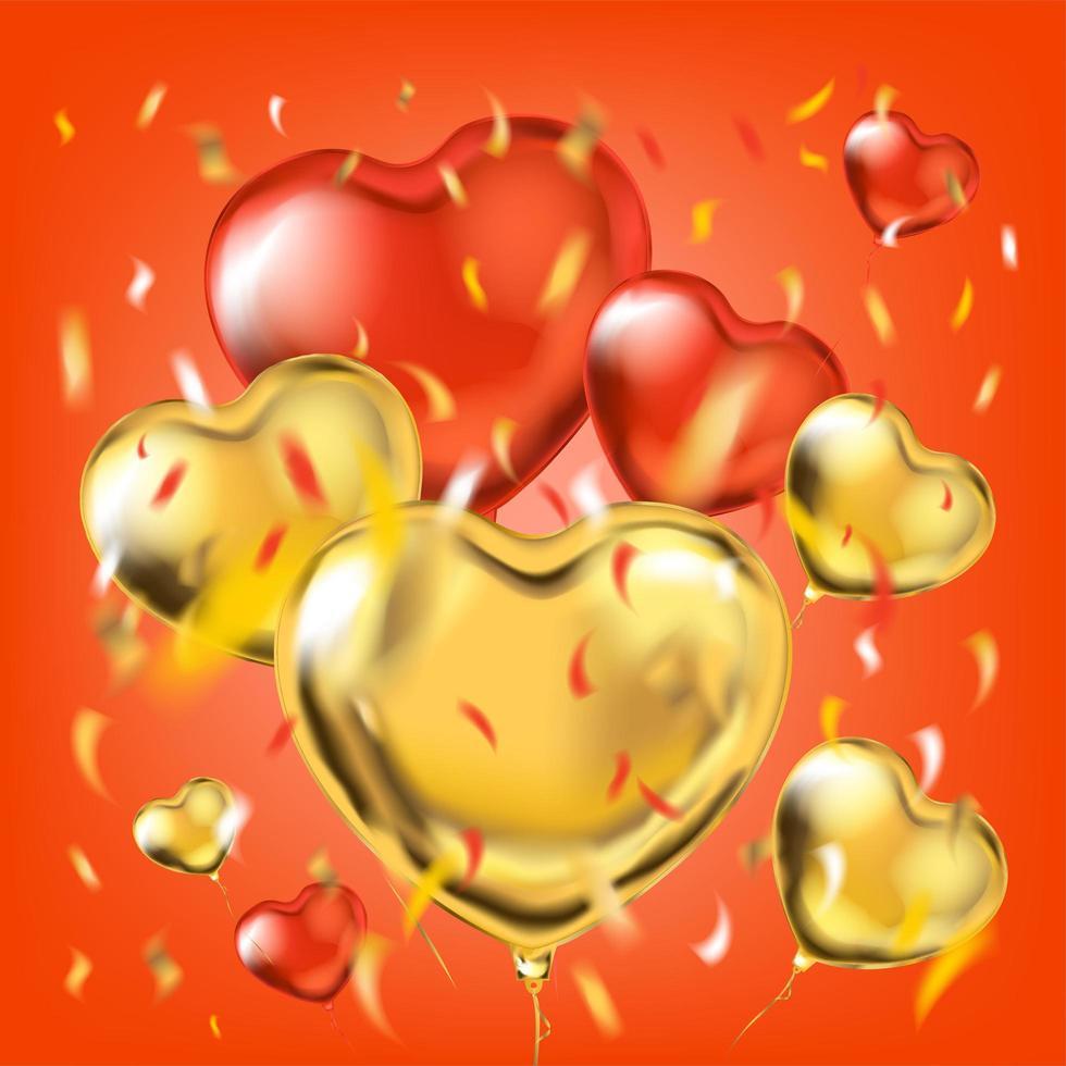 gyllene och röda metalliska ballonger med hjärtaform och foliekonfetti vektor