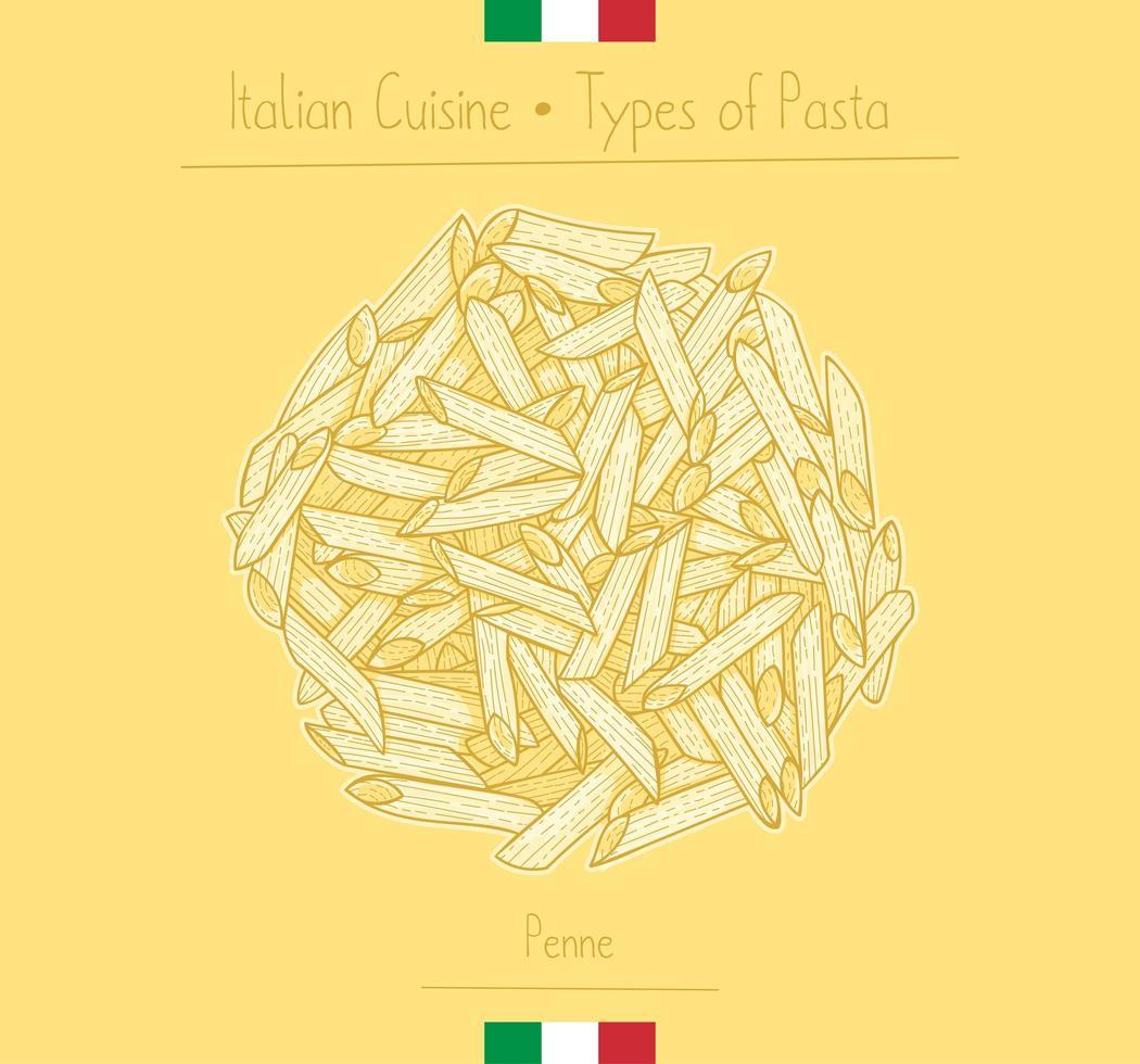 italiensk mat penne pasta vektor