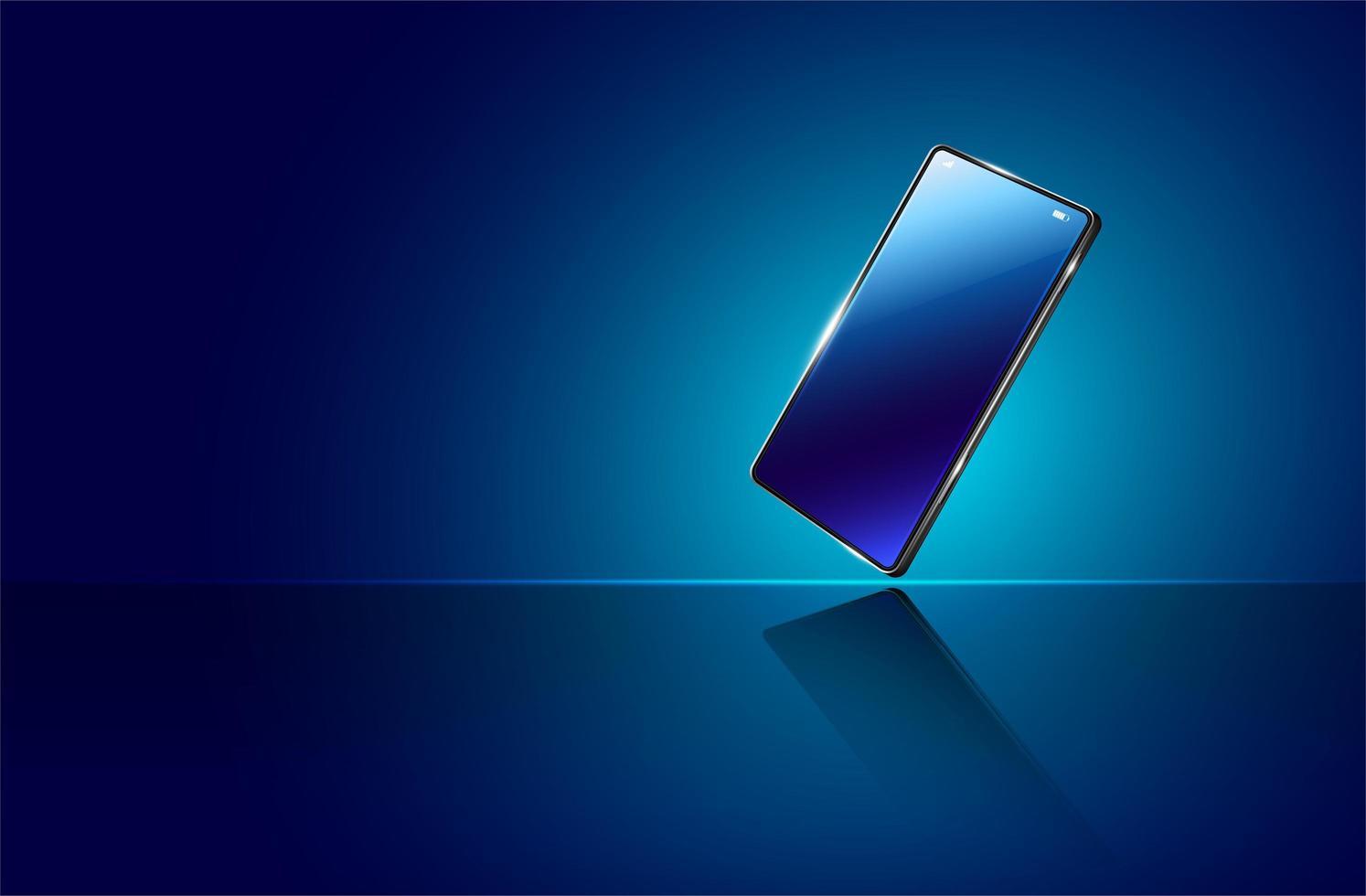 realsitisk mobiltelefon på glödande blå lutning vektor