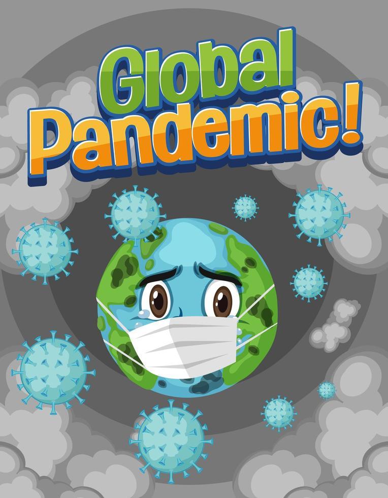 världen bär mask med coronavirus vektor