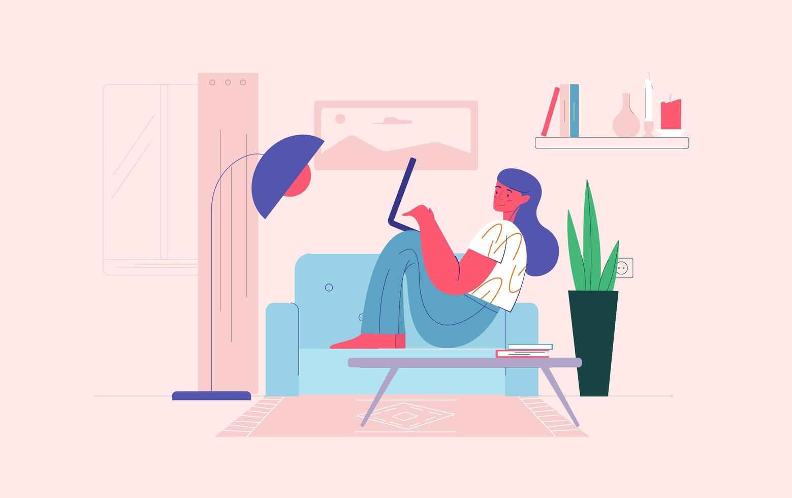 Frau, die von zu Hause auf Laptop arbeitet vektor