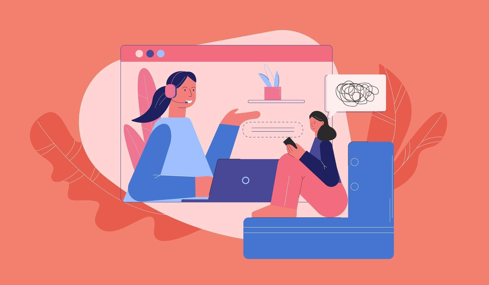 verärgerte Frau bei der Beratung mit Psychologe online vektor