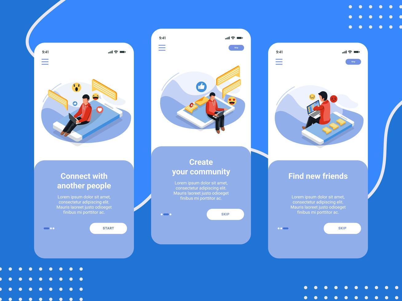 Reihe von Begrüßungsbildschirmen für soziale Medien vektor
