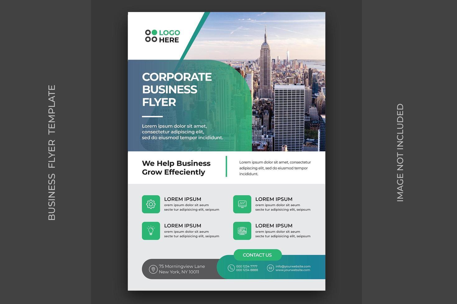 Unternehmensflugblatt mit grünem blauem Farbverlauf vektor