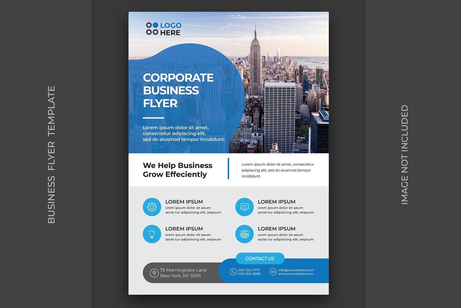 Flyer mit blauem Akzent für Unternehmen vektor