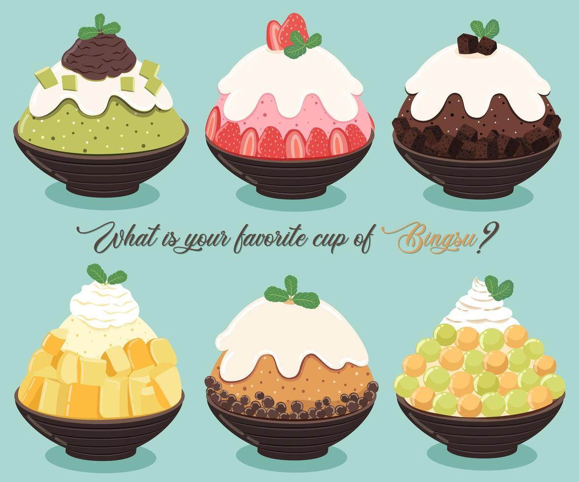 Bingsu Dessert Set vektor