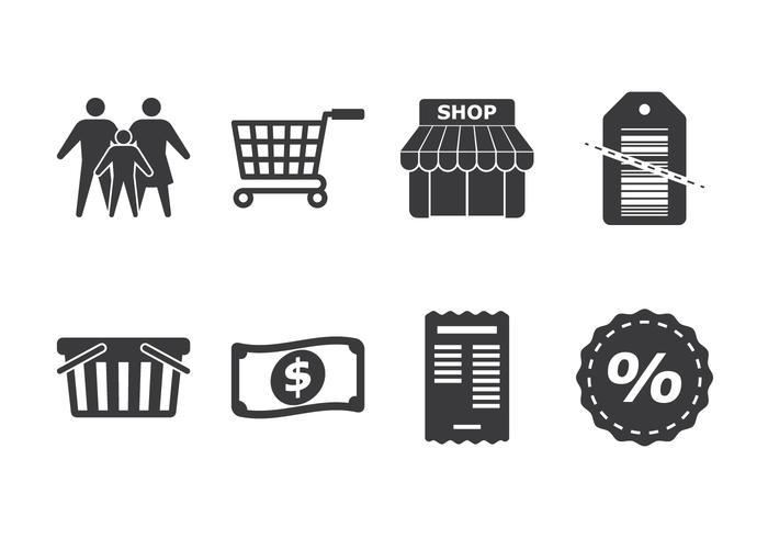 Familj shopping ikonuppsättning vektor
