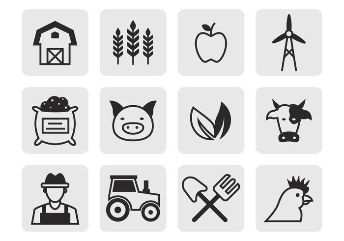 Kostenlose landwirtschaftliche Icons Vektor