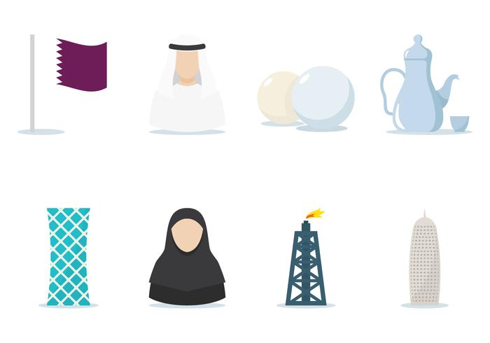 Qatar flache Icon-Set vektor