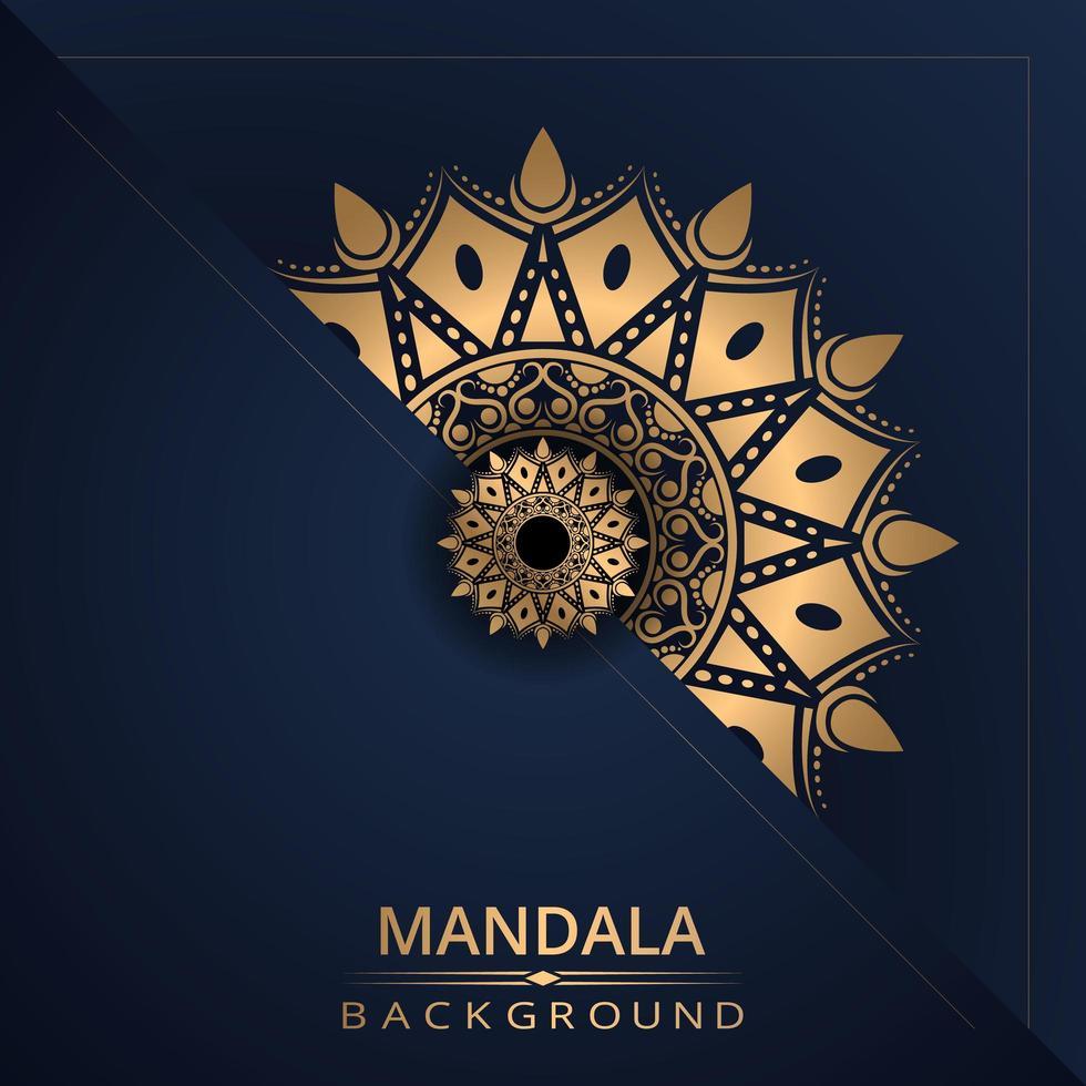 mandala bakgrund med gyllene färg vektor