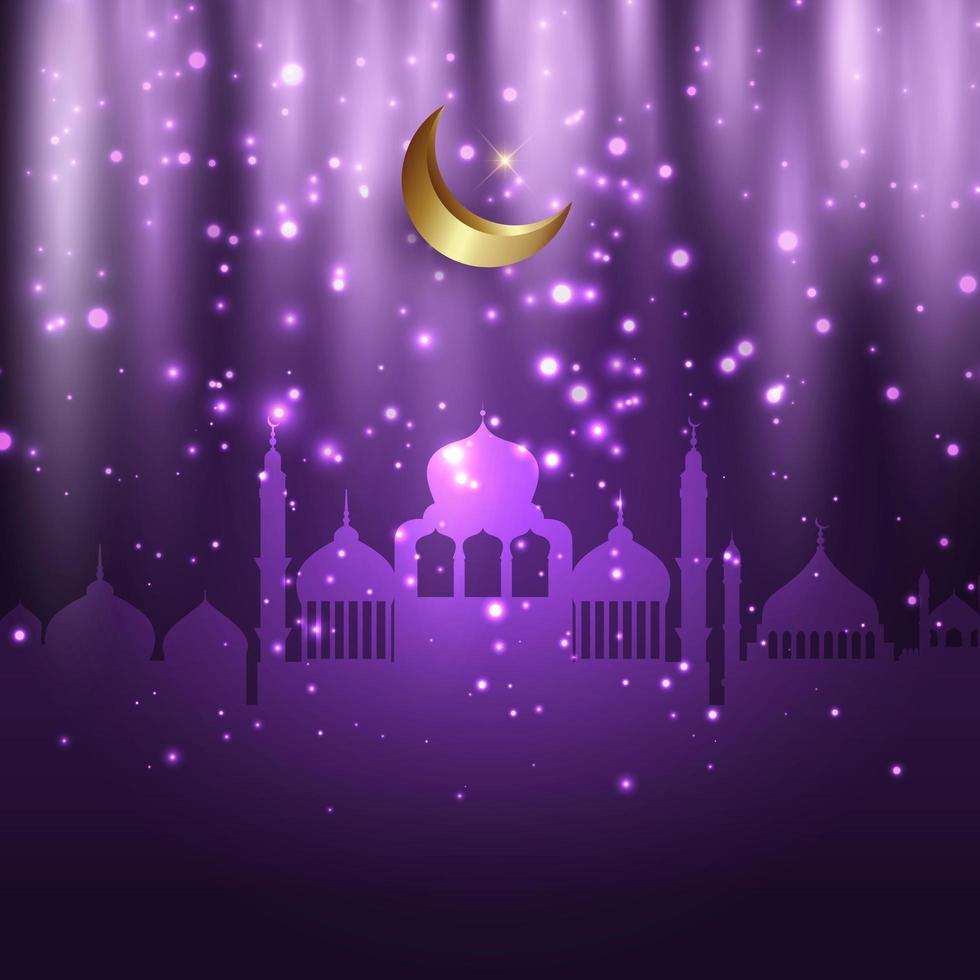 eid al adha Hintergrund mit Moscheen und leuchtenden Lichtern vektor