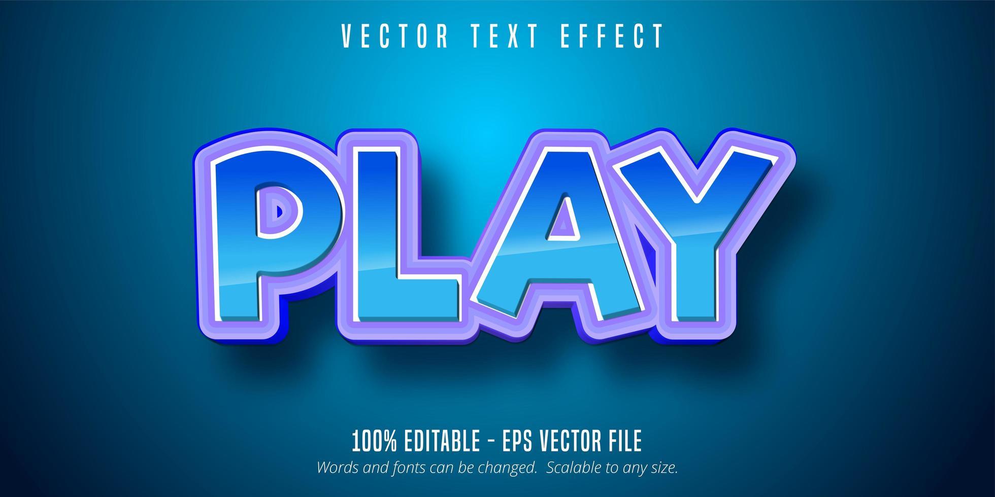 blå lila spela text effekt vektor