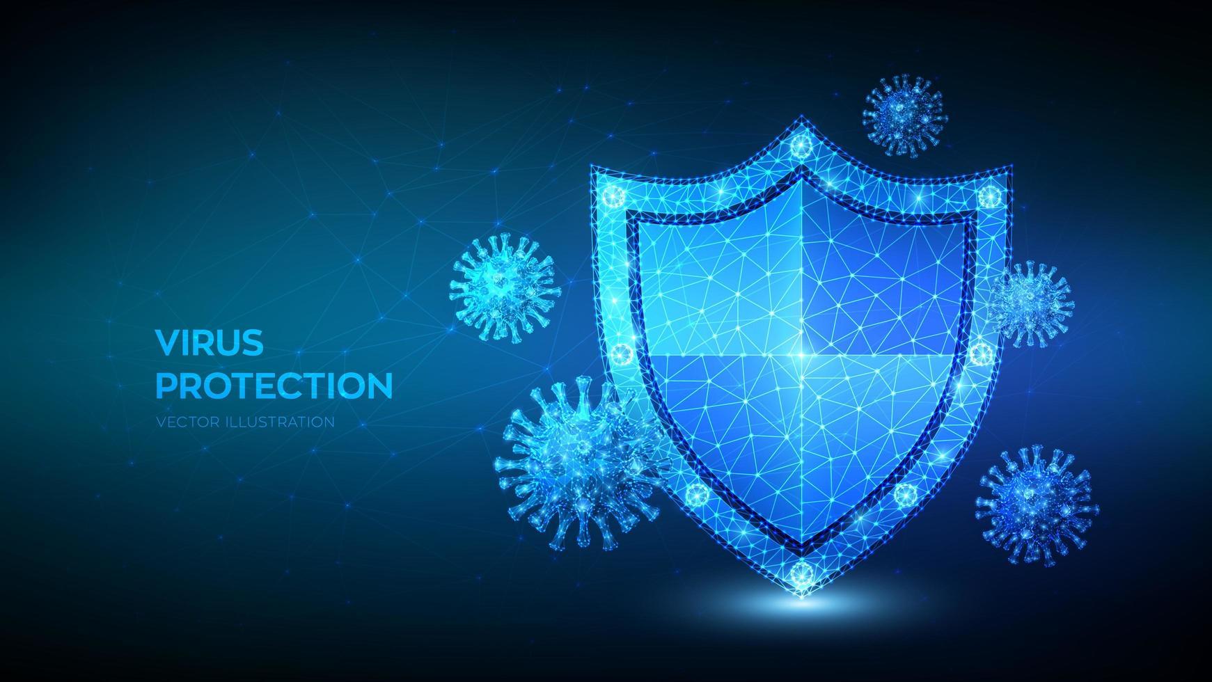 niedriger polygonaler Schild und Covid-19-Viruszellen vektor