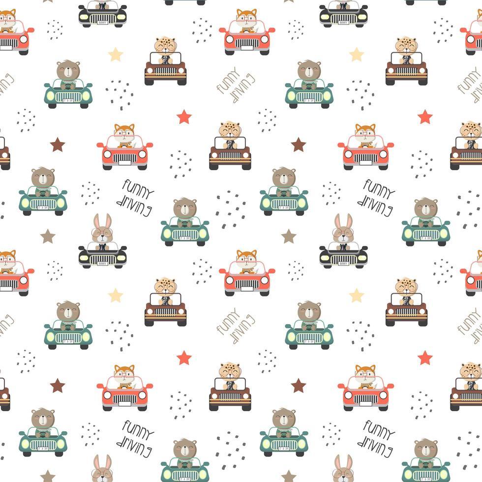 Muster von niedlichen Tieren, die ein Auto fahren vektor