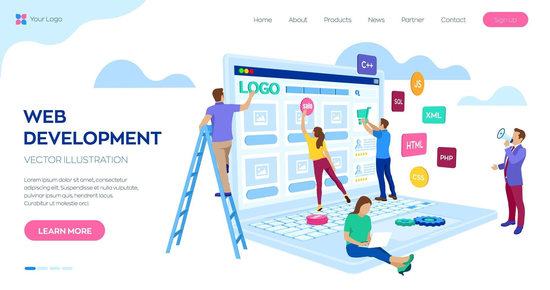 projektgrupp av ingenjörer för webbplatsskapande vektor
