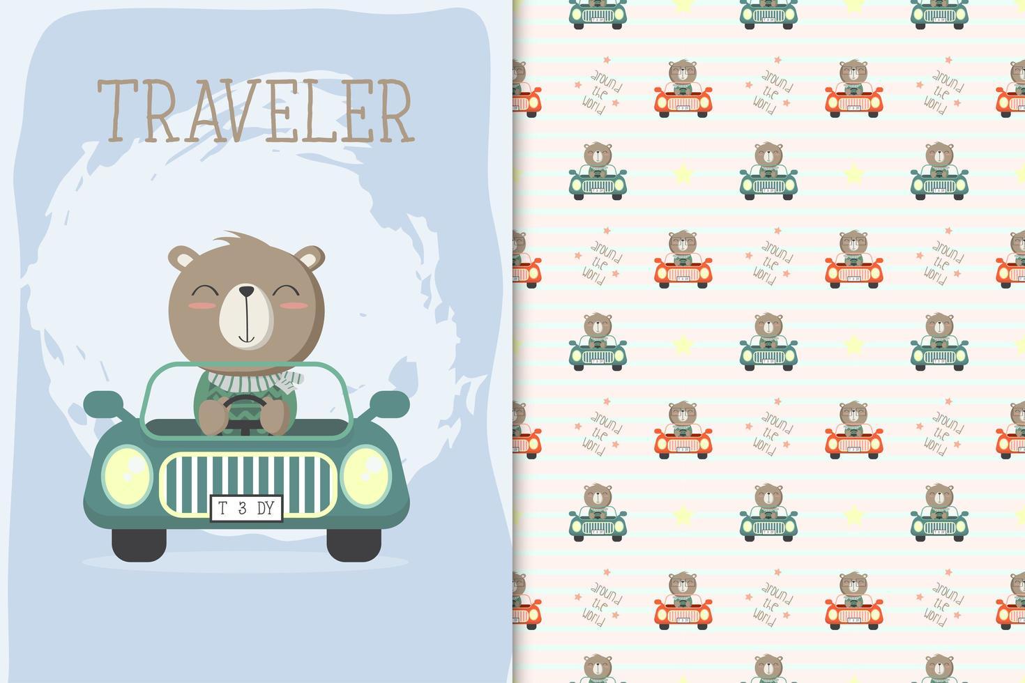 björn som kör en bil vektor