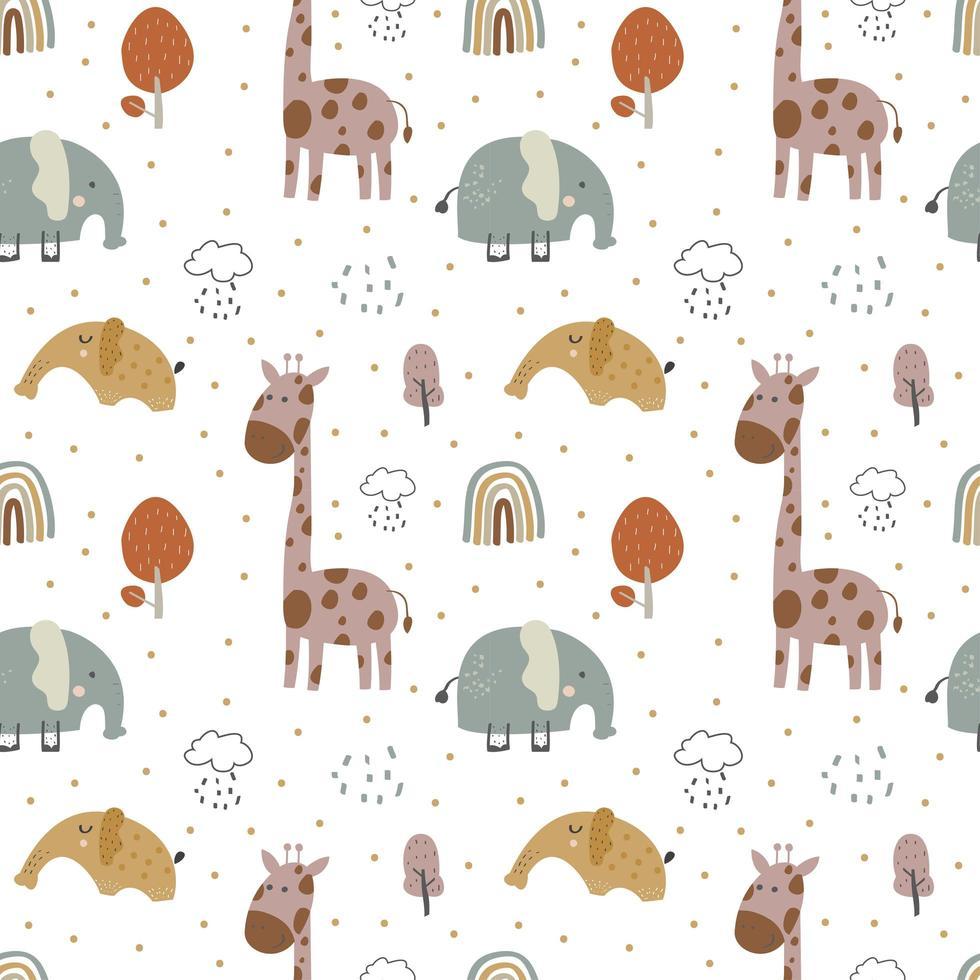 giraff och elefant baby vektor