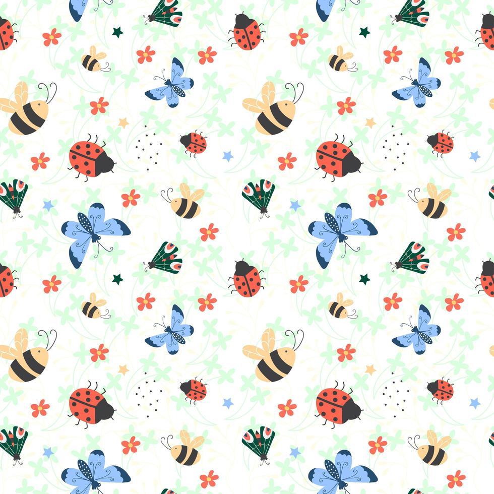 nahtloses Muster mit bunten Schmetterlingen, Marienkäfer, Biene und Käfer. vektor
